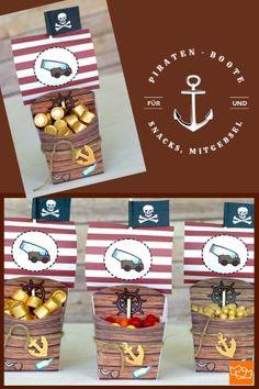 Piratenboote für Snacks und Knabbereien oder Mitgebsel. Einfach kostenlos ausdrucken! Snacks, Holiday Decor, Home Decor, Kid Birthdays, Birthday Celebrations, Crafts, Appetizers, Decoration Home, Room Decor