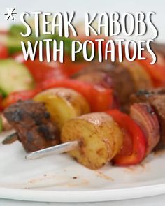 spicy, meaty kebabs will be the heartiest thing on the grill. WithThese spicy, meaty kebabs will be the heartiest thing on the grill. Beef Kabob Recipes, Grilled Steak Recipes, Grilling Recipes, Cooking Recipes, Grilled Food, Receta Bbq, Steak Braten, Steak Kabobs, Steak Kabob Marinade