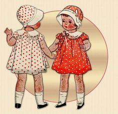 Doll outfit pattern for a 22 Inch doll. Love this sweet little dress---- and the cloche hat too. By McCall pattern company-dated 1933.