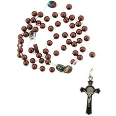 Brown Faux Pearl Link Rosary Necklace - 24 in Necklace - 8mm Beads
