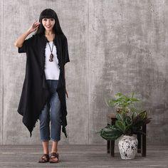 Coat - Women Summer Short Sleeve Black Irregular Tassel Cardigan Linen Coat With Pockets