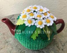 Crochet tea cozy green tea cover daisy tea cosy tea warmer white daisy flower green kitchen accessory crochet high tea accessory décor
