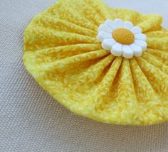 Yellow Easter/Spring Handstitched yo yo hair by ThisandThatCrafter