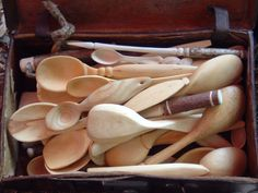 spoon carving   small suitcase full of spoons