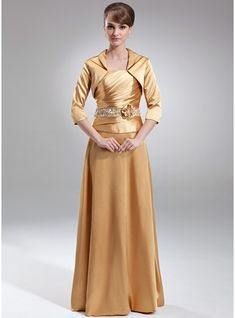 A-Line/Princess Strapless Floor-Length Charmeuse Mother of the Bride Dress With…