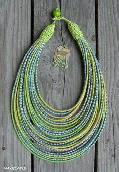 OOAK Pastel yarn-wrapped necklace / tribal / hippie / bohemian/ lime/ thread-wrapped