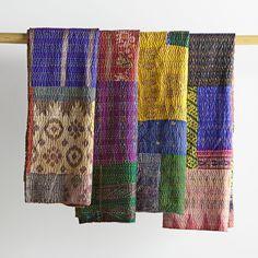 Vintage Silk Kantha Throw   National Geographic Store
