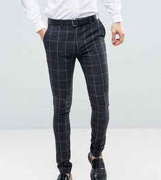 Buy ASOS TALL Super Skinny Suit in Navy Check With Nep at ASOS. Mens Plaid Pants, Mens Dress Pants, Suit Pants, Trousers, Mens Fashion Wear, Suit Fashion, Skinny Suits, Formal Pants, African Clothing For Men