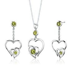 Sterling Silver Rhodium Finish 1.50 carats total weight Round shape Peridot Pendant Earrings and 18 inch Necklace Set . $39.99. Save 75% Off!