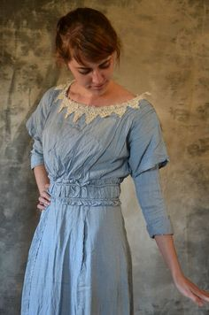 Edwardian Cornflower Blue Seersucker Work Day Dress 7147d3fb3d2be