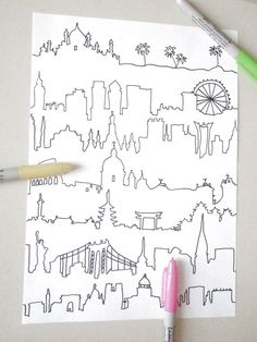 skyline adult coloring silhouette world landscape city new york london travelere tourist map download colouring printable lasoffittadiste