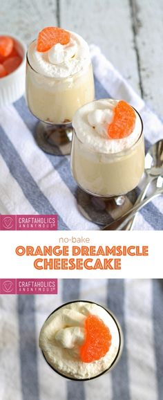 No-bake Orange Dreamsicle Cheesecake recipe || Scrumptious and refreshing! Tastes just like a dreamsicle.