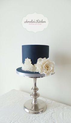 Navy blue and ivory lace wedding cake - by Helen Ward @ CakesDecor.com - cake decorating website