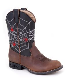 Roper Kids Boys Western Lighted Brown Faux Spider Web Leather Cowboy Comfort Boots