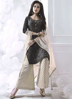 Buy a stylish variety salwar kameez. Buy this strange print work palazzo suit for festival and party.