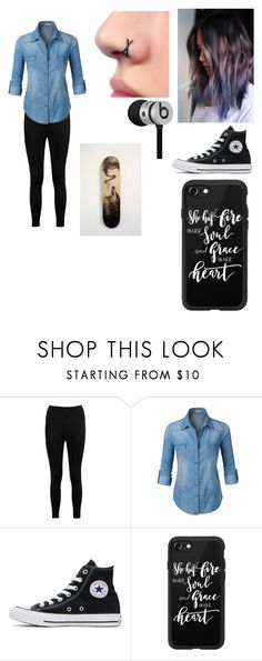 """Untitled #13"" by daughter-of-hades1122 ❤ liked on Polyvore featuring Boohoo, LE3NO, Converse, Casetify and Beats by Dr. Dre"