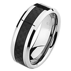 *** LASER ENGRAVING SERVICE *** 8MM Wellingsale® LUXE Series Comfort Fit Wedding Band Ring with Sporty Black Carbon Fiber Inlay and Diamond Beveled Edge for Men and Women in Size 10.5. Enjoy your jewelry, scratch and blemish free... Tungsten Carbide is one of the most scratch resistant materials known to man**. Heavy in weight, extremely scratch resistance, and excellent value for money... Order yours today or browse our fine selection of Tungsten Jewelry. Swift and Speedy shipping…