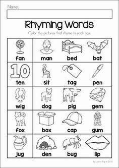 Connect Rhyming Pictures With Words Ending In ET, EN, UB, IT or OP ...