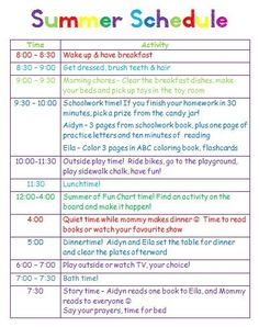 Giving kids a schedule for playtime, chores and summer homework by queen