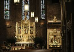 View of the Rosary Altar and the High Altar in the Dominican church of St Catherine of Siena in New York City.