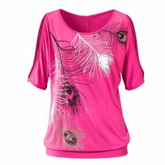 Feather Print Off Shoulder Tops