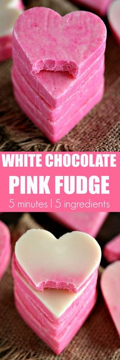 Pink White Chocolate Fudge is incredibly easy to make and very festive. 3 Ingredients, 5 minutes to get a creamy and irresistible fudge. No Bake, Gluten Free.