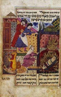 Mūsā Nāma (The Book of Moses) by Mulana Shāhīn Shirazi   Tabriz, Persia   1686   Scribe: Nehemiah ben Amshal of Tabriz   Handwritten on paper; black ink, tempera, and gold powder; square and semi-cursive Oriental script