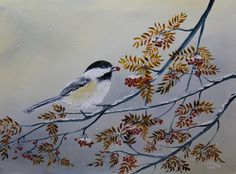 The black-capped chickadee - Oil on canvas 18 x 24 L.A. Nause - The black-capped chickadee is a small, nonmigratory, North American songbird that lives in deciduous and mixed forests. It is a passerine bird in the tit family Paridae. Wikipedia