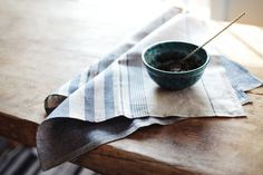 Linen Kitchen Towels / Grey Blue  / Hand Towel /  by LINOHAZE