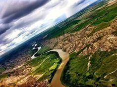 Flying over the badlands.