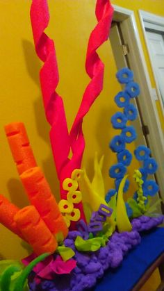 Under the sea theme Coral reefs decorations under the sea, finding dory, finding nemo, little mermaid done by Ruby Olvera Little Mermaid Birthday, Little Mermaid Parties, The Little Mermaid, Under The Sea Theme, Under The Sea Party, Under The Sea Decorations, Ocean Party Decorations, Little Mermaid Decorations, Mermaid Baby Showers