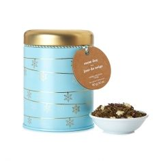 DavidsTea [Davids Tea] Snowy Day Collectible Tin ... Christmas snowflake garland decorated limited edition cylinder shape tin, 2016, Canada