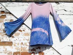 Tie dye cotton jersey bell sleeve hippy boho dress by BOODWAH on Etsy