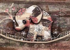 Elephant Bridge Greeting Card featuring the painting Elephant Bridge by Karin Taylor