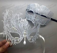 His & Her Couple Masquerade Mask, White Mask for Him, White Swan for Her