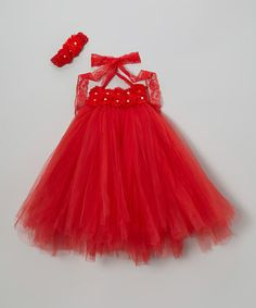 Take a look at this Red Tutu Dress & Headband - Infant, Toddler & Girls by Posh by Tutu AND Lulu on #zulily today!