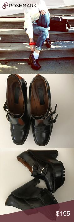 Burberry Prorsum black buckle wedge booties Devastatingly cool. Some normal wear/scuffing but so much fabulousness left. 37.5; fits like 7. No trades. No holds. Please ask all questions prior to making offer or purchase. Burberry Shoes Ankle Boots & Booties
