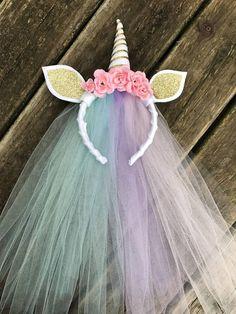 Rainbow tulle unicorn headband  unicorn birthday party