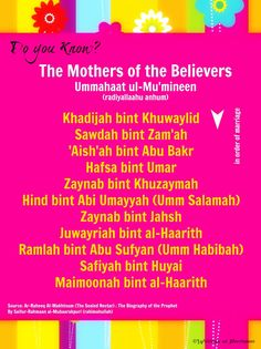Do You Know? : The Mothers of the Believers (radiyallaahu anhum)