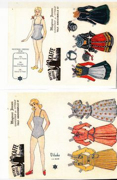 "Three more traditional costumes and three ""modern"" styles to dress your paper doll with."