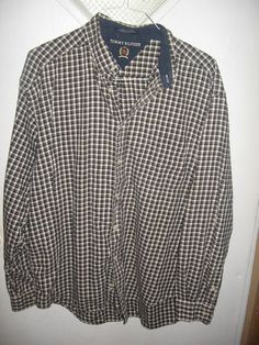Tommy Hilfiger Mens Navy Blue Plaid L/S Top Shirt XL