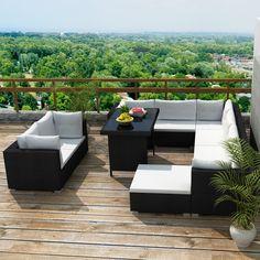 Only US$729.99, black 28 pcs Outdoor Patio Furniture Sofa Set Black - LovDock.com