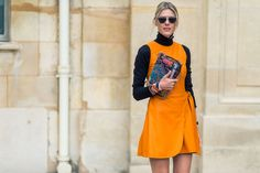 Orange #dress + #turtleneck