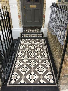 14 Floor Tiles Design for Garden Floor Tiles Design For Garden - Inside Outside Contemporary Garden Reseal and make the black the lines in between and then do a Flooring Design London. Victorian Front Garden, Victorian Front Doors, Victorian Porch, Victorian Hallway Tiles, Tiled Hallway, Hallway Flooring, Floor Design, Tile Design, Front Door Steps