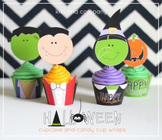 free halloween cupcake and candy cup wraps from kiki and company
