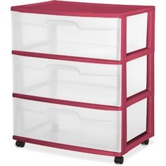 Sterilite 3 Drawer Wide Cart Plastic Storage Organizer - Black for sale online Storage Cart, Storage Bins, Storage Drawers, Storage Ideas, Diaper Storage, Extra Storage, Dorm Storage, Craft Storage, Storage Containers