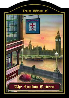 London Pub Signs | LONDON TAVERN English Pub Sign | Inn Tavern | Home Bar