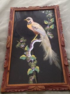 Feathered Bird Mixed Media Painting Mexico Framed by Visualaromas, $18.50