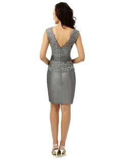 Rieshaneea Womens Mother of The Bride Dresses Sheath Short Grey 26 *** Check this awesome product by going to the link at the image. (This is an affiliate link) Silver Dress, Gray Dress, Formal Dresses For Teens, Womens Cocktail Dresses, Mother Of The Bride, Bride Groom, Lace Shorts, Cocktails, Bride Dresses