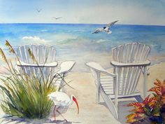 """""""Chairs on the Beach with Ibis"""" by Sue Lynn Cotton:"""